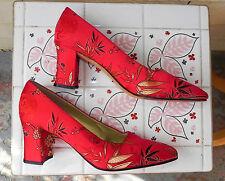 AMAZING RED/GOLD ASIAN BROCADE HEELS CHERRY BLOSSOMS ANN MARINO HOLIDAY 10 B