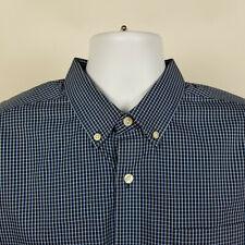 Eddie Bauer Wrinkle Free Slim Fit Blue Check Plaid Mens Dress Button Shirt XL