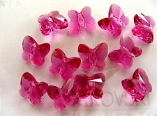 8 Fuchsia Swarovski Crystal Butterfly Beads 5754 6mm