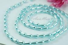 *80pcs/strand 6x10mm Blue Faux Acrylic Imitation Tear Drop Loose Pearl Beads*
