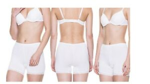 Womens Boxers Shorts Anti-Chaffing Knickers Underwear Cream Medium Lace Trimmed