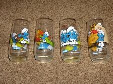 4-Vintage McDonalds Glasses Smurfs Hefty Smurfette Brainy Lazy 1982 Peyo New