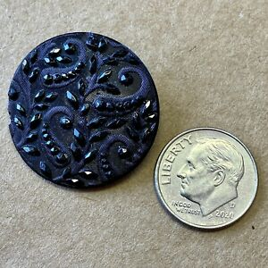 "1-1/16"" Black Glass Metal Shank Button, Faceted Floral Design, Antique Victorian"