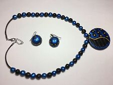Indian Designer Terracotta Beads Pedant Necklace and Earrings Jewelry Set