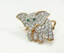 """Swarovski Signed 5/8""""Elephant Tac Pin Clear/ Green Crystals Gold Accents Sweet!"""