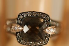 HEAVY LEVIAN 14K ROSE GOLD SMOKEY QUARTZ CHOCOLATE DIAMOND RUBY ART DECO RING