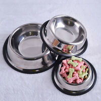 Stainless Steel Dog Cat Puppy Pet Bowl Non Slip Food Water Feeding Dish 4Siz YZZ
