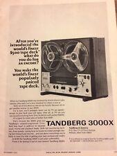 Tandberg 3000x Tape Deck, Full Page Vintage Print Ad