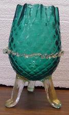 MURANO ITALY VENETIAN GLASS 3 LEGGED RUFFLED EDGE VASE BOWL TEAL & GOLD