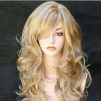 LN_ GOLDEN LONG CURLY SLANTED BANGS FAUX HAIR WOMEN WIG PARTY COSPLAY HAIRPIEC