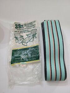 """Jordan Web Kit Lawn Chair Webbing Vintage 39 ft 2 1/14"""" Stripe -sea green peach"""