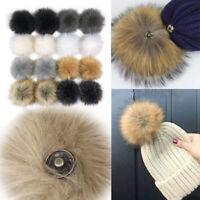 2X Faux Raccoon Faux Fur Hair Ball Fluffy Pompom Pendant Hat Bag Shoes Accessory