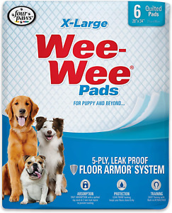 """Wee-Wee Puppy Training Pee Pads 6-Count 28"""" x 34"""" X-Large Size Pads for Dogs"""