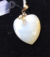 H9 antique JADEITE heart PENDANT 14k gold c.1900 WHITE JADE w/Apricot DIAMOND