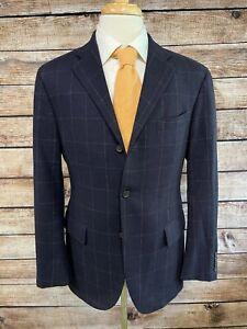 Polo Ralph Lauren Navy Blue Wool Cashmere Windowpane Jacket 40R Italy Sportcoat