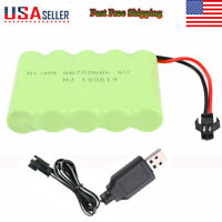 NI-MH Battery Pack 700mAh 6V w/ SM 2P Plug & Charger for RC Car Electric Toys