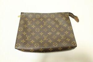 Authentic Louis Vuitton Toiletry Pouch 26 Accessories Brown Pouch Bag #8086