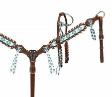 Showman TEAL & Brown NAVAJO Leather LACED Trim Bridle Breast Collar & Rein SET