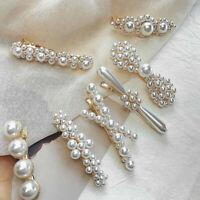 Charm Women Pearl Hair Clip Snap Barrette Stick Hairpin Bobby Hair Accessories