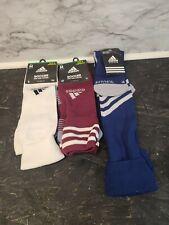 Men's Adidas Mundial Zone Cushioned Soccer Socks 3 Pairs New Mens M  White Burga