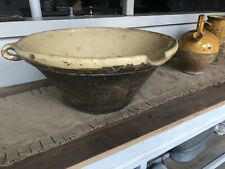 Giant ANTIQUE FRENCH Clay TIAN or CONFIT BOWL,c.Late 1800s