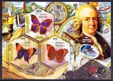 Malawi 2012 MNH SS, Odd Hexagon Butterflies Carl Linnaeus, Botanist Zoologist ()