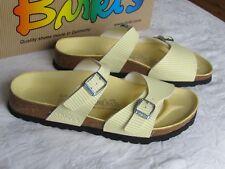 NEW Birkis By Birkenstock Aziza Ladies Yellow Stripes Mules Sandals Size 5 EU 38