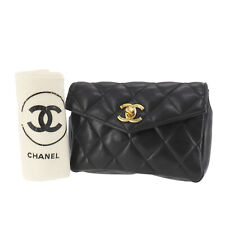 CHANEL Matelasse Clutch Bag Black Lambskin Leather Italy Auth JUNK #EE687 O