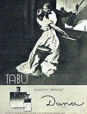 "PUBLICITE ADVERTISING 086  1964  Tabu  parfum femme Dana ""Défendu"""