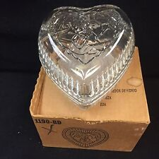 Homco TENDER HEART CANDY DISH Glass  Trinket NIB FILL IT For YOUR SPECIAL LOVE