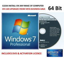 Windows 7 Professional SP1 64bit DELL DVD INSTALL ON ANY COMPUTER + Licence