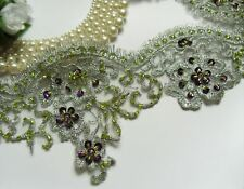 Metallic Silver / Violet Sequins Beads Embro Flowers Fringe Lace Trim -1 Yard