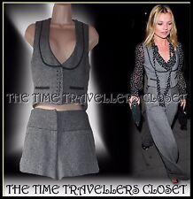 Kate Moss Topshop Grey Wool Tweed Thick Winter Hot Pants Shorts Waistcoat UK 8