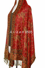 Gorgeous Pashmina &  Silk Paisley Shawl-Dark.Red#A