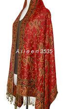 Gorgeous Pashmina  Paisley Shawl-Dark.Red#A