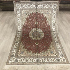 YILONG 4'x6' Red Handmade Silk Area Rugs Floor Decor Oriental Carpet 026B