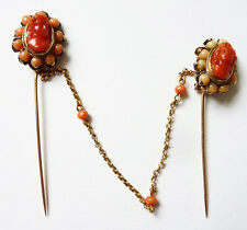 Double épingle cravate  en OR massif + camée corail gold pin coral 19e s corallo