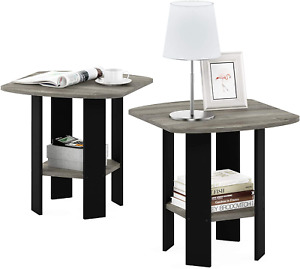FURINNO Simple Design End Table, 2-Pack, French Oak Grey/Black