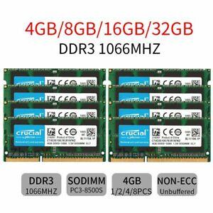 For Crucial 32GB 16GB 8GB 4GB PC3-8500S DDR3 1066MHz 1.5V SO-DIMM Laptop RAM Lot