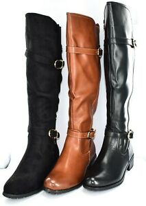 LADIES FAUX LEATHER LONG RIDER WINTER BOOTS SIZE UK 3-8