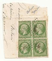 Rare bloc de 4 Napoleon N° 12  fragment un marge courte cote 2650 € sur lettre