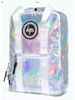 New Hype Silver Holographic Boxy Backpack, Back To School Adjustable, Rucksack
