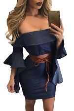 Abito Gonna Top aderente jeans Scollo Fascia Casual Ballo Mini Denim Dress M