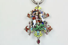 Vintage Enamel Sterling Silver King George slaying the Dragon Pendant Necklace