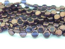 30x Czech Perline A NIDO D'APE 6 mm esagonale 2 FORI TANZANITE VEGA