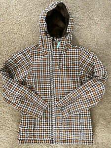 BURTON Plaid Pattern Houndstooth Snowboard Ski Jacket Womens XS
