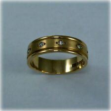 9ct Satin & Polished Gold Diamond set Wedding Band