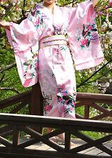 Pink Lovely Japanese Kimono National Costume Bathrobe Exotic Yukata Cosplay Gown