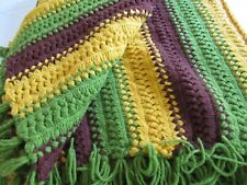 """LARGE Retro Crocheted Afghan Vtg Couch Blanket Throw GREEN Brown Gold 58x84"""""""