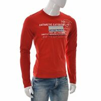 Napapijri Geographic Expedition Team Mens Graphic T-Shirt Long Sleeve Medium Red